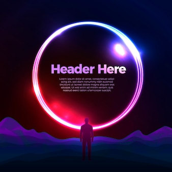 Modello di progettazione di poster banner vettoriale con portale cerchio luminoso sopra le montagne con un uomo