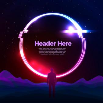 Banner vettoriale, modello di progettazione poster con portale cerchio luminoso retrò glitch sulle montagne. con un uomo in piedi di fronte ad esso, concetto di viaggio avventuroso.