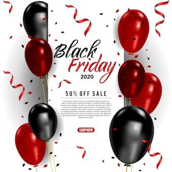 Modello di banner vettoriale venerdì nero con palloncini e coriandoli, poster venerdì nero