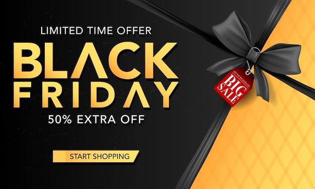 Modello di banner vettoriale venerdì nero con nastri neri, poster venerdì nero