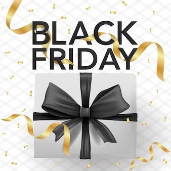 Modello di banner vettoriale venerdì nero con scatola, coriandoli e nastri neri