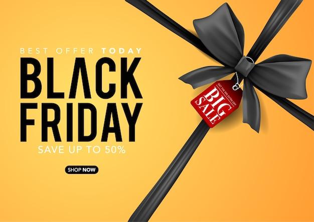 Modello di banner vettoriale della scatola gialla venerdì nero con nastri neri, tag di vendita venerdì nero