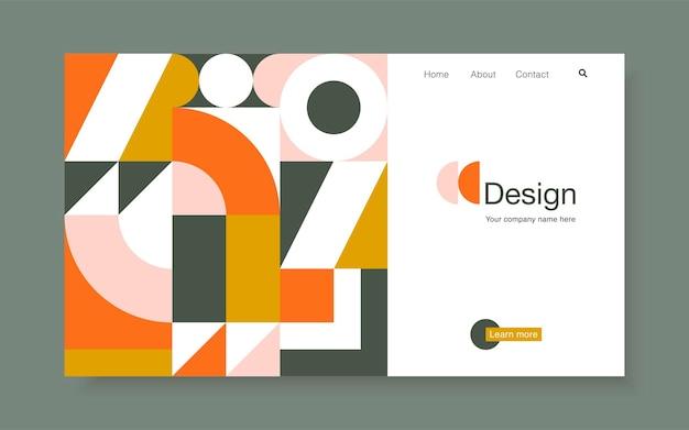 Banner vettoriale con forme geometriche luminose in stile bauhaus alla moda. modello di progettazione della pagina di destinazione, illustrazione vettoriale d'archivio.