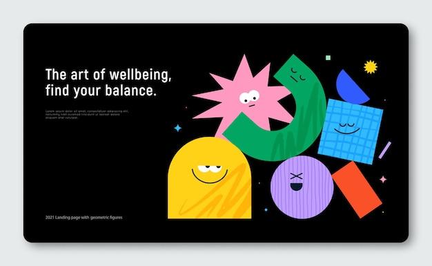 Banner vettoriale con figure geometriche di carattere su sfondo nero simpatici personaggi dei cartoni animati