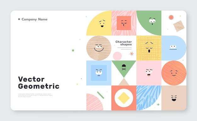 Banner vettoriale con figure geometriche di caratteri su sfondo bianco
