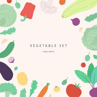 Banner vettoriale con spazio copia verdure ed erbe carine illustrazione moderna in stile disegnato a mano