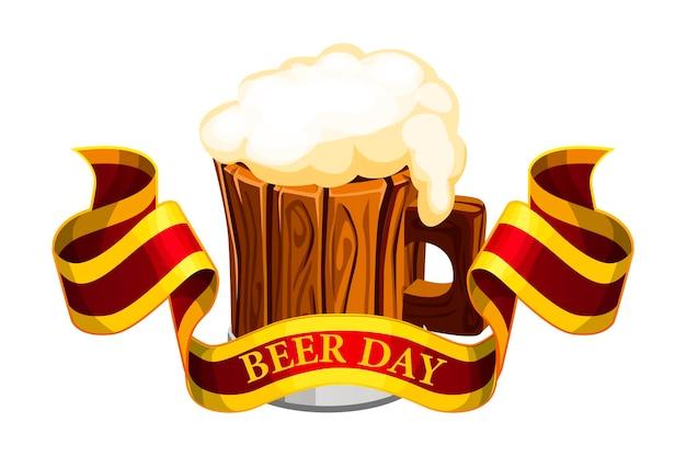 Bandiera di vettore con la scritta beer day. illustrazione di una tazza di legno di birra con un nastro.