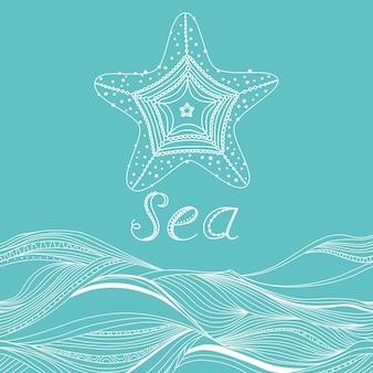 Banner vettoriale con onde, stelle marine e posto per il tuo testo
