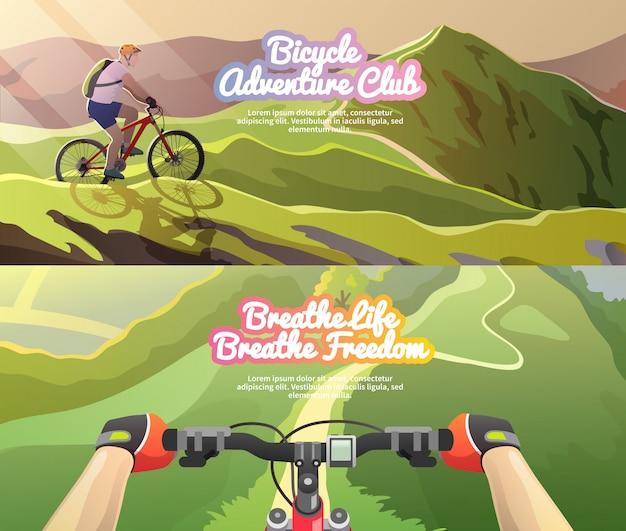 Banner vettoriali. andare in mountain bike.