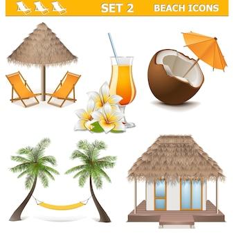 Icone della spiaggia di vettore impostate 2