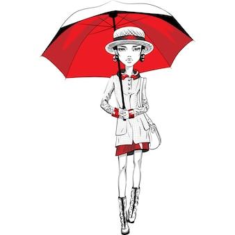 Vector top model hipster ragazza bella moda in abiti autunnali, cappello e stivali, giacca e gonna con un ombrello rosso