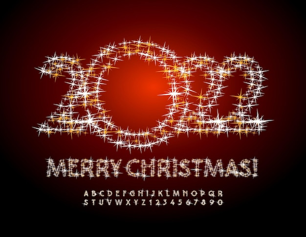 Vector bellissimo biglietto di auguri buon natale 2022 set di caratteri di lusso stellato sparkling alphabet