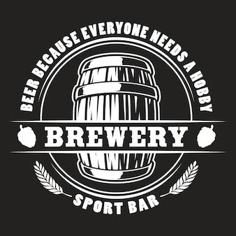 Distintivo di barile di birra di vettore per sfondo scuro.