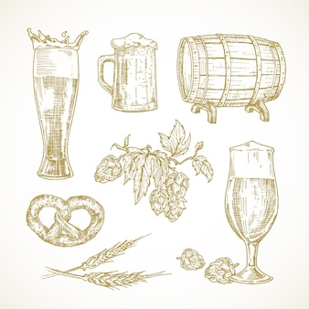 Set di schizzi di birra vettoriale. illustrazioni di bicchieri disegnati a mano