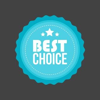 Vector best choice distintivo piatto in metallo, etichetta rotonda.