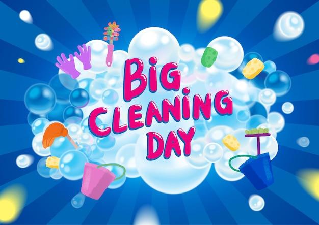 Illustrazione variopinta di grande giorno di pulizia di vettore.