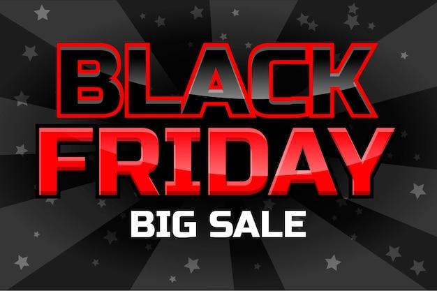 Modello di disegno vettoriale grande vendita, iscrizione venerdì nero su sfondo nero