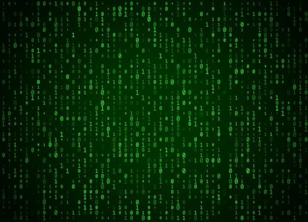 Fondo di verde di codice binario di vettore. hacking di big data e programmazione, decrittazione e crittografia approfondite, numeri di streaming del computer 1,0. codifica o concetto di hacker.