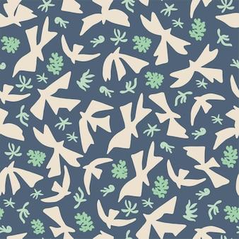 Vector uccelli e fiori della natura forme semplici illustrazione senza cuciture motivo ripetuto decorazioni per la casa stampa