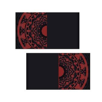 Vector il disegno della cartolina di colori neri con l'ornamento greco. design dell'invito con un posto per il tuo testo e motivi luxury.
