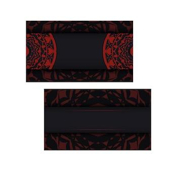 Vector il disegno della cartolina di colori neri con motivi greci. design per biglietti d'invito con spazio per il tuo testo e ornamenti di lusso.