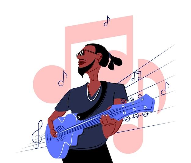 Chitarrista nero vettoriale all'ombra di uno stile di linee nette