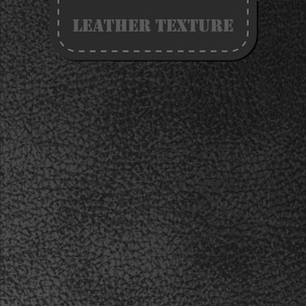 Texture vettoriale in pelle nera con etichetta sfondo realistico texture carbone pelle animale naturale