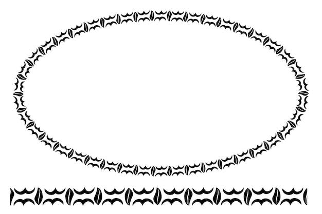 Cornice floreale ovale con angolo arrotondato nero vettoriale, isolata su bianco