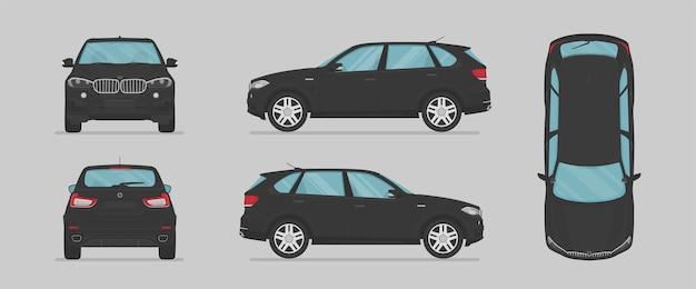 Auto suv nera vettoriale da diversi lati