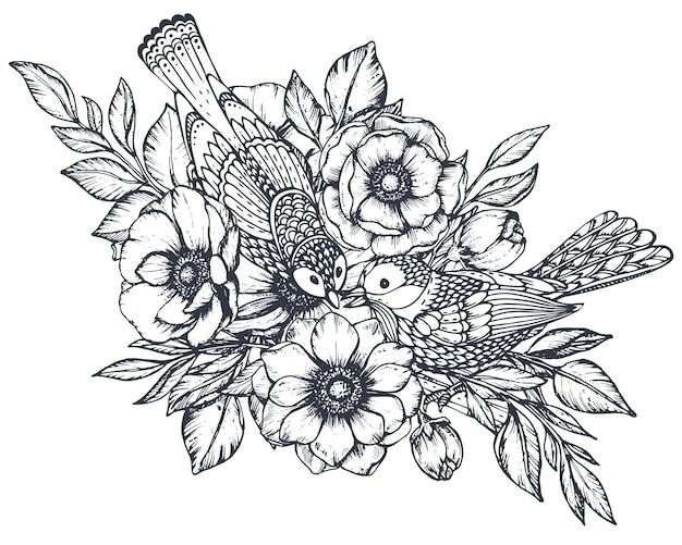 Composizione floreale vettoriale in bianco e nero di foglie e uccelli di boccioli di fiori di anemone disegnati a mano