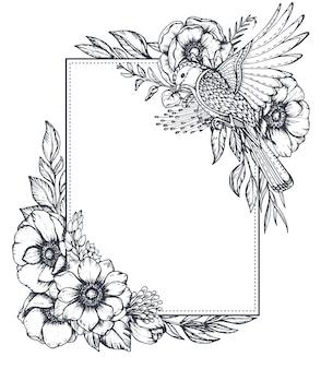Cornice floreale vettoriale in bianco e nero con mazzi di fiori di anemone disegnati a mano, boccioli, foglie e uccelli in stile schizzo. bellissimo modello per inviti, biglietti di auguri.