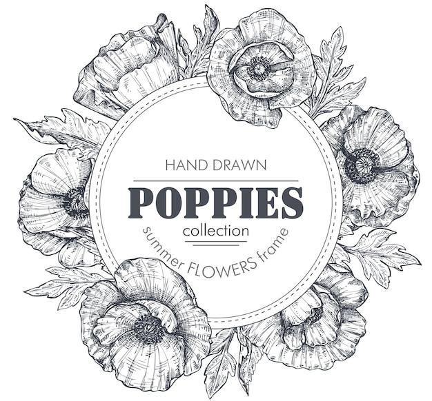 Cornice floreale vettoriale in bianco e nero con mazzi di fiori di papavero disegnati a mano, boccioli e foglie in stile schizzo. bellissimo modello per inviti, biglietti di auguri.