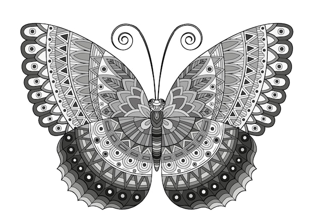 Immagine vettoriale in bianco e nero di una farfalla su sfondo bianco. stile zentangle farfalla disegnata a mano per t-shirt design o tatuaggio.