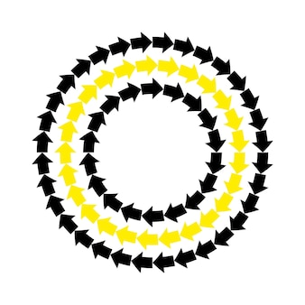 Frecce gialle nere di vettore struttura rotonda. bordo del cerchio ornamento ripetitivo astratto..