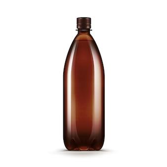 Bottiglia di plastica vuota del kvas della birra di acqua di brown di vettore isolata su fondo bianco