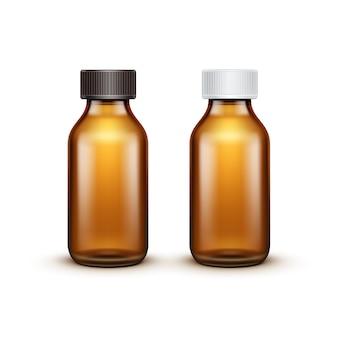 Bottiglia medica di vetro in bianco di vettore isolata