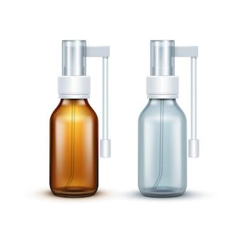 Bottiglia di vetro dello spruzzo medico in bianco di vettore isolata