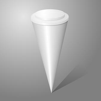 Pacchetto di cono gelato vuoto vettoriale isolato su sfondo grigio, per il tuo design.