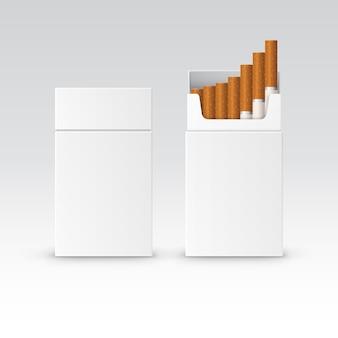 Scatola di sigarette pacchetto pacchetto vuoto vettoriale isolato su bianco