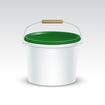 Imballaggio del contenitore del secchio di plastica in bianco di vettore