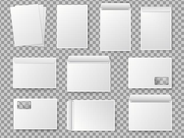 Insieme in bianco della busta di carta bianca c4 di vettore. mockup realistico per la carta a4.