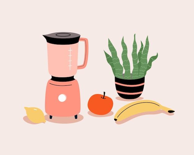 Frullatore vettoriale e frutta per frullato. manifesto della cucina, stampa. illustrazione piana del fumetto