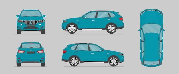 Auto suv blu vettoriale da diversi lati
