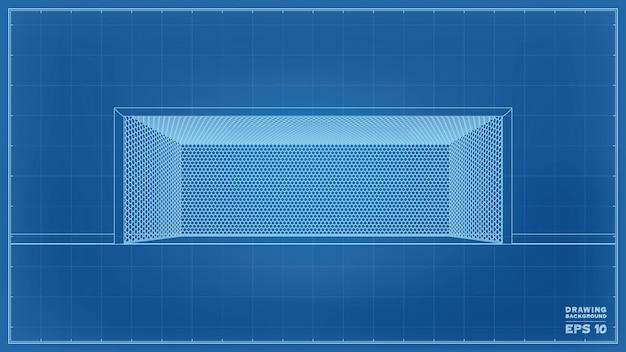 Wireframe del progetto di vettore del palo della porta di calcio su priorità bassa blu.