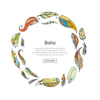 Piume di doodle di vettore boho nella bandiera del cerchio