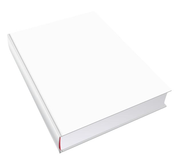 Mockup di libro vettoriale con copertina vuota, illustrazione del modello isolato su bianco.