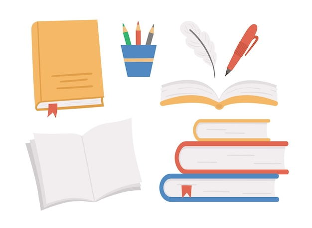 Set di libri vettoriali. torna a clipart educativo scuola. con quaderni aperti, pile di libri, matite