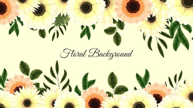 Fondo floreale botanico dell'insegna di vettore con i fiori sboccianti
