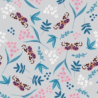 Modello senza cuciture di piante botaniche vettoriali con farfalle estive vettore eps10, design per moda, tessuto, tessuto, carta da parati, copertina, web, avvolgimento e tutte le stampe su colore grigio chiaro