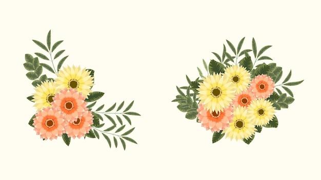 Mazzi di bouquet vettoriali di fiori primaverili con rami di alberi come elementi di clip art impostano le disposizioni